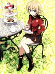 1girl black_boots blonde_hair blue_eyes boots brown_skirt cake chair cup darjeeling food girls_und_panzer grass green_hair highres leaf military military_uniform nakahira_guy short_hair sitting skirt smile solo table tea teacup uniform