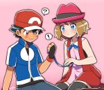 1boy 1girl baseball_cap black_hair blue_eyes blue_ribbon blush brown_eyes brown_hair hat moyori pink_background pokemon pokemon_(anime) pokemon_xy_(anime) question_mark ribbon satoshi_(pokemon) serena_(pokemon) short_hair simple_background sitting thigh-highs