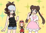 alternate_costume blue_eyes brown_hair dress green_eyes long_hair mei_(pokemon) moyori pokemon pokemon_(game) ponytail serena_(pokemon) sparkle_background sunglasses sunglasses_on_head touko_(pokemon)