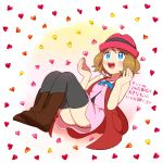 1girl black_legwear blue_eyes boots brown_boots brown_hair floating hat heart looking_up moyori pokemon pokemon_(anime) pokemon_xy_(anime) serena_(pokemon) short_hair smile solo thigh-highs