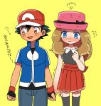 1boy 1girl baseball_cap black_hair blue_eyes blush brown_eyes brown_hair hat long_hair moyori pokemon pokemon_(anime) pokemon_xy_(anime) satoshi_(pokemon) serena_(pokemon) simple_background skirt thigh-highs trembling yellow_background