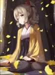 1girl autumn_leaves black_skirt blonde_hair blue_eyes blush book boots bow brown_boots drill_hair eyebrows_visible_through_hair floral_print hair_bow hatakaze_(kantai_collection) headgear highres japanese_clothes kantai_collection karumayu kimono kneeling looking_at_viewer outdoors parted_lips ponytail skirt solo tree wide_sleeves yellow_kimono