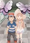 1boy 1girl black_hair blonde_hair butterfree kuriyama lillie_(pokemon) pokemon pokemon_(anime) pokemon_(game) pokemon_sm pokemon_sm_(anime) satoshi_(pokemon)