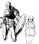 1girl captain_america cosplay greyscale helmet highres kotoyama marvel monochrome no_pants shield short_hair solo