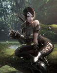 1girl absurdres arm_support armor bangs bare_shoulders between_legs black_hair black_legwear breasts claw_(weapon) cleavage cross-laced_legwear facial_mark forehead_mark forest gauntlets greaves hand_between_legs highres holster jewelry lake leaning_to_the_side leg_between_thighs log looking_at_viewer nature necklace original outdoors parted_bangs pendant pointy_ears realistic short_hair shoulder_armor sidelocks sitting sword weapon young_il_choi