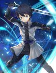 1boy absurdres arm_up bangs black_eyes black_gloves black_hair black_pants blue_background blue_belt closed_mouth commentary_request diffraction_spikes fighting_stance glint gloves grey_jacket hair_between_eyes hand_up high_collar highres holding holding_sword holding_weapon kirito legs_apart light_particles long_sleeves looking_at_viewer male_focus pants solo standing sword sword_art_online sword_art_online_the_movie:_ordinal_scale taro_(ultrataro) weapon wind