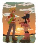 1boy 1girl beanie blonde_hair blue_hair clouds hand_holding hat highres hikari_(pokemon) jun_(pokemon) long_hair moyori orange_(color) pokemon pokemon_(game) pokemon_dppt scarf sky sunset