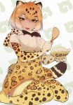 1girl :d black_bow blonde_hair bodystocking bow bowl bowtie breasts fur_trim gradient_hair half-closed_eyes highres jaguar_(kemono_friends) jaguar_print jaguar_tail japari_symbol juz kemono_friends looking_at_viewer multicolored_hair open_mouth orange_eyes rice seiza sitting smile solo spoon thigh-highs two-tone_hair white_hair zettai_ryouiki