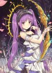 1girl absurdres anklet armlet bangs bare_shoulders blurry bonnet bow_(weapon) bracelet breasts choker commentary_request depth_of_field dress euryale eyebrows_visible_through_hair fate/hollow_ataraxia fate_(series) flower frilled_choker frills hairband halo headdress highres holding holding_bow_(weapon) holding_weapon jewelry konata_(knt_banri) lolita_hairband long_hair looking_at_viewer medium_breasts night night_sky parted_bangs petals purple_hair rose sidelocks sky sleeveless sleeveless_dress smile solo star_(sky) twintails very_long_hair violet_eyes weapon white_dress white_rose