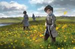 1girl 2boys belt belt_pouch black_gloves black_legwear brown_eyes brown_hair clouds collared_shirt double-breasted expressionless field flower flower_field gloves grass gun highres long_coat looking_at_viewer meadow multiple_boys original ponytail poppy_(flower) rifle scenery shirt short_hair skirt sky tall_grass treeware weapon