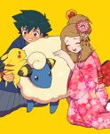 1boy 1girl alternate_costume alternate_hairstyle black_hair brown_eyes brown_hair floral_print flower hair_bun hair_flower hair_ornament japanese_clothes kimono mareep moyori obi pikachu pink_kimono pokemon pokemon_(anime) pokemon_xy_(anime) sash satoshi_(pokemon) serena_(pokemon) smile