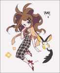 alternate_costume auko blue_eyes brown_hair emolga high_heels long_hair pants plaid plaid_pants pokemon pokemon_(game) pokemon_bw ponytail simple_background touko_(pokemon)