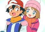 1boy 1girl alternate_costume baseball_cap beanie behind_another black_hair blue_eyes blush brown_eyes brown_hair hands_on_another's_shoulders hat moyori pokemon pokemon_(anime) satoshi_(pokemon) scarf serena_(pokemon) short_hair simple_background smile white_background winter_clothes