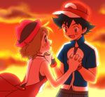 1boy 1girl baseball_cap black_hair blue_eyes blush brown_eyes brown_hair hand_holding hat interlocked_fingers looking_at_another moyori orange_(color) pokemon pokemon_(anime) pokemon_xy_(anime) satoshi_(pokemon) serena_(pokemon) short_hair smile sunset
