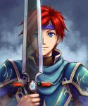 2boys armor blue_eyes cape cosplay durandal_(fire_emblem) eliwood_(fire_emblem) eliwood_(fire_emblem)_(cosplay) fire_emblem fire_emblem:_fuuin_no_tsurugi fire_emblem:_rekka_no_ken fire_emblem_heroes headband holding holding_weapon looking_at_viewer male_focus multiple_boys redhead roy_(fire_emblem) short_hair smile sword weapon