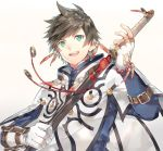 1boy :d bead_bracelet beads belt_buckle bracelet brown_hair buckle earrings feather_earrings feathers fingerless_gloves gloves gradient gradient_background green_eyes hinahino holding holding_sword holding_weapon jacket jewelry long_sleeves looking_at_viewer male_focus open_mouth sheath single_fingerless_glove smile solo sorey_(tales) sword tales_of_(series) tales_of_zestiria teeth unsheathing upper_body weapon white_gloves