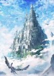 absurdres arch architecture blue_sky bridge castle clouds cloudy_sky commentary_request day dragon flying fog gothic_architecture graphite_(medium) highres mitsuki_(yu_hsiang_yi) mountain no_humans outdoors scenery sky traditional_media