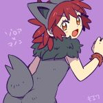 1girl back brown_eyes cosplay fang from_behind looking_back manon_(pokemon) moyori pokemon pokemon_(anime) pokemon_xy_(anime) purple_background redhead short_hair simple_background solo zorua zorua_(cosplay)