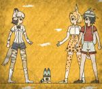3girls african_wild_dog_(kemono_friends) african_wild_dog_ears african_wild_dog_tail animal_ears backpack bag bare_shoulders beige_hair black_bow black_bowtie black_eyes black_hair black_shorts blonde_hair boots bow bowtie brown_shoes bucket_hat clenched_hand clenched_hands closed_mouth collared_shirt commentary_request crack egyptian_art elbow_gloves from_side full_body gloves hat hat_feather high-waist_skirt highres kaban_(kemono_friends) kemono_friends kita_(7kita) legs_apart long_sleeves lucky_beast_(kemono_friends) multicolored_hair multiple_girls no_gloves no_legwear pantyhose profile red_shirt serval_(kemono_friends) serval_ears serval_print serval_tail shirt shoes short_hair short_sleeves shorts skirt sleeveless sleeveless_shirt standing striped_tail tail thigh-highs two-tone_hair white_boots white_shirt white_shoes white_shorts wing_collar yellow_background