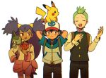 1girl 2boys apple arms_behind_head axew black_hair brown_eyes chewing dent_(pokemon) food fruit green_hair iris_(pokemon) long_hair moyori multiple_boys pikachu pokemon pokemon_(anime) pokemon_(game) pokemon_bw purple_hair red_eyes satoshi_(pokemon) very_long_hair