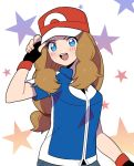 1girl alternate_costume baseball_cap blue_eyes blush brown_hair cosplay fingerless_gloves gloves hat long_hair moyori pokemon pokemon_(anime) pokemon_xy_(anime) satoshi_(pokemon) satoshi_(pokemon)_(cosplay) serena_(pokemon) solo star starry_background