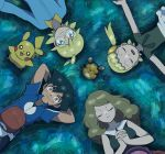 2boys 2girls arms_behind_head black_hair blonde_hair blue_eyes brown_hair citron_(pokemon) dedenne eureka_(pokemon) grass hands_clasped hat hat_removed headwear_removed highres long_hair lying moyori multiple_boys multiple_girls on_back pikachu pokemon pokemon_(anime) pokemon_xy_(anime) satoshi_(pokemon) serena_(pokemon) side_ponytail