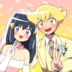 1boy 1girl alternate_costume arm_around_shoulder blonde_hair blue_eyes blue_hair blush bridal_veil dress formal hikari_(pokemon) jun_(pokemon) long_hair moyori pokemon pokemon_(game) pokemon_dppt smile suit v veil wedding_dress yellow_eyes