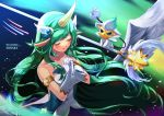 1girl alternate_costume alternate_hair_color armlet breasts character_name closed_eyes gloves green_hair hair_ornament hands_together highres horn league_of_legends long_hair magical_girl niu pointy_ears skirt solo soraka staff star_guardian_soraka very_long_hair white_gloves white_wings wings