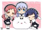 3girls :> :o angora_rabbit animal animal_ears animal_hug apron artist_name bangs black_shoes black_skirt blue_eyes blue_hair blunt_bangs blush_stickers bolo_tie chibi chimame-tai closed_eyes closed_mouth collared_shirt commentary_request dated eyebrows_visible_through_hair fake_animal_ears fleur_de_lapin_uniform floppy_ears frilled_apron frilled_cuffs frilled_skirt frills full_body gochuumon_wa_usagi_desu_ka? hair_ornament hair_scrunchie hairclip hug jouga_maya kafuu_chino light_blue_hair long_hair looking_at_viewer maid_headdress matching_outfit multiple_girls natsu_megumi open_mouth orange_eyes pink_background puffy_short_sleeves puffy_sleeves rabbit rabbit_ears redhead scrunchie shirt shoes short_hair short_sleeves signature sitting skirt standing thigh-highs tippy_(gochiusa) triangle_mouth twintails underbust v waist_apron wariza white_legwear white_shirt wing_collar wrist_cuffs x_hair_ornament