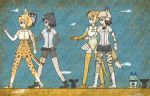 4girls african_wild_dog_(kemono_friends) african_wild_dog_ears african_wild_dog_tail animal_ears anklet bangle bare_shoulders bear_ears bear_paw_hammer beige_hair beige_shirt bike_shorts black_bow black_bowtie black_eyes black_gloves black_hair black_shorts black_skirt blonde_hair blue_background boots bow bowtie bracelet breasts brown_bear_(kemono_friends) brown_boots circlet clenched_hand clenched_hands closed_mouth collared_shirt commentary_request crack egyptian_art elbow_gloves fingerless_gloves from_side full_body gloves golden_snub-nosed_monkey_(kemono_friends) high-waist_skirt high_ponytail highres holding holding_staff holding_weapon jewelry kemono_friends kita_(7kita) legs_apart leotard long_hair long_sleeves lucky_beast_(kemono_friends) medium_breasts microskirt monkey_ears monkey_tail multicolored_hair multiple_girls orange_shoes pantyhose pleated_skirt profile serval_(kemono_friends) serval_ears serval_print serval_tail shirt shoes short_hair short_sleeves shorts skirt sleeveless sleeveless_shirt staff standing striped_tail tail thigh-highs two-tone_hair weapon white_boots white_hair white_shirt white_shoes wing_collar yellow_gloves yellow_legwear