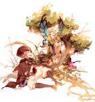 1boy 1girl blonde_hair braid butterfly_wings fairy fajyobore323 flower hair_flower hair_ornament hat hat_feather in_tree ingway_(odin_sphere) long_hair mercedes odin_sphere pointy_ears puffy_sleeves sitting sitting_in_tree tree twin_braids wings