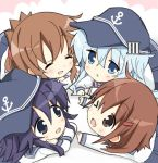 4girls akatsuki_(kantai_collection) anchor_symbol black_eyes black_hair blue_eyes blue_hat blue_sailor_collar blue_skirt brown_eyes brown_hair chibi fang flat_cap folded_ponytail hat hibiki_(kantai_collection) hizuki_yayoi ikazuchi_(kantai_collection) inazuma_(kantai_collection) kantai_collection long_hair lying multiple_girls neckerchief on_stomach one_eye_closed open_mouth pleated_skirt school_uniform serafuku silver_hair skirt