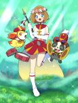 1girl alternate_costume blue_eyes brown_hair fennekin highres moyori pancham pokemon pokemon_(anime) pokemon_xy_(anime) serena_(pokemon) short_hair
