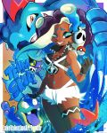 alolan_grimer alternate_costume alternate_hairstyle blue_eyes blue_hair blue_nails breasts cleavage cosplay crop_top dark_skin feraligatr fingerless_gloves gloves headphones highres iida_(splatoon) luke_valentine_(artist) mareanie midriff nail_polish navel navel_piercing piercing poke_ball pokemon pokemon_(game) pokemon_sm purple_hair shorts sleeveless smile splatoon splatoon_2 team_skull team_skull_grunt team_skull_grunt_(cosplay) teeth tentacle_hair white_shorts