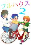 3boys :t bicycle blue_hair brown_eyes brown_hair child crossdressing earrings emiya_shirou fate/stay_night fate_(series) highres jewelry kotomine_kirei kounaien lancer male multiple_boys orange_hair red_eyes saber_(cosplay) sweat tears yellow_eyes young