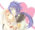 1girl alice_(tales_of_symphonia_kor) anko_(pixiv293078) bad_id couple decus love lowres rapier sword tales_of_(series) tales_of_symphonia tales_of_symphonia_knight_of_ratatosk weapon wink