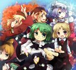 aki_minoriko aki_shizuha antennae blonde_hair blue_eyes blush bow bucket butterfly cape cirno dress food fruit grapes green_eyes green_hair hair_bow in_bucket in_container kisume kurodani_yamame leaf letty_whiterock maple_leaf middle_finger multiple_girls murani pointing purple_eyes purple_hair rumia short_hair snow snowman spider_web spider_webs touhou wriggle_nightbug yellow_eyes
