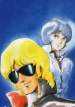 blonde_hair blue_eyes blue_hair camille_bidan gundam highres kamille_bidan kitazume_hiroyuki male quattro_bajeena short_hair sunglasses zeta_gundam