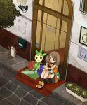 1girl bike_shorts blue_eyes brown_hair door gloves haruka_(pokemon) haruka_(pokemon)_(remake) lowres no_bandana pinkish pokemon pokemon_(creature) pokemon_(game) pokemon_rse roselia sitting