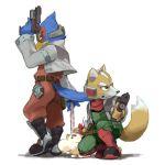 falco_lombardi fox_mccloud furry gloves green_eyes gun headset mother_(game) mr_saturn nemurism nintendo scarf star_fox starfox super_smash_bros. tail weapon