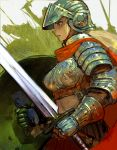 blonde_hair cape helmet knight long_hair midriff okojo original red_eyes shield sword weapon