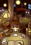 1girl bangs bird book bookshelf cardigan cat chair coffee coffee_cup coffee_mug cup duck food fork frog graphite_(medium) hat indoors kita_high_school_uniform lamp mechanical_pencil mug nagato_yuki open_book pancake pencil school_uniform serafuku shadow short_hair sitting steam suzumiya_haruhi_no_yuuutsu table traditional_media witch witch_hat