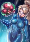 1girl absurdres arm_at_side blonde_hair blue_eyes bodysuit breasts collarbone copyright_name covered_navel cowboy_shot dutch_angle hand_up high_ponytail highres hips lips looking_at_another metroid metroid_(creature) mole mole_under_mouth open_mouth ponytail samus_aran skin_tight zero_suit zuma_(zuma_yskn)