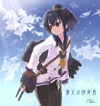 1girl black_hair cannon character_name clouds cowboy_shot dated day dress gradient_hair grey_hair headgear highres kantai_collection kaze_hiki long_sleeves lowleg_pantyhose multicolored_hair pantyhose sailor_dress shirt short_hair_with_long_locks sky solo tied_shirt tokitsukaze_(kantai_collection) torpedo yellow_eyes