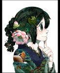 1girl alternate_hairstyle animal_print asui_tsuyu blue_nails boku_no_hero_academia braid collarbone commentary_request finger_to_mouth flower frog frog_print from_side green_eyes green_hair hair_tie japanese_clothes kimono lily_pad looking_away lotus nail_art nail_polish nekodou_(yukatin1000) pale_skin simple_background solo upper_body white_background
