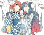 2girls blue_hair bow braid candy_apple character_mask cotton_candy eating etorofu_(kantai_collection) failure_penguin food food_on_face fox_mask gradient_hair hair_bow hairband japanese_clothes kantai_collection kimono lantern long_hair mask mask_on_head matsuwa_(kantai_collection) multicolored_hair multiple_girls ninimo_nimo paper_lantern redhead rigging short_hair twin_braids white_background yellow_eyes yukata