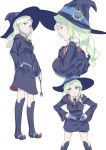 1girl belt black_dress black_hat black_legwear black_ribbon blue_eyes closed_eyes diana_cavendish dress full_body hand_in_hair hand_on_hip hands_on_hips hat highres kneehighs leaning_forward little_witch_academia long_hair neck_ribbon ribbon shirt short_dress shunsheng silver_hair simple_background solo standing white_background white_shirt witch_hat