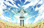 1girl absurdly_long_hair artist_name black_legwear black_skirt blue_necktie breasts clouds cloudy_sky day detached_sleeves field floating_hair flower flower_field green_eyes green_hair grey_shirt hair_between_eyes hair_ornament hatsune_miku long_hair looking_at_viewer medium_breasts miniskirt necktie outdoors pleated_skirt sevens_(treefeather) shiny shiny_clothes shirt skirt sky sleeveless sleeveless_shirt smile solo standing thigh-highs twintails very_long_hair vocaloid zettai_ryouiki