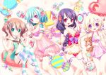 4girls :d :o aqua_eyes arm_garter babydoll bangs bare_shoulders bed_sheet blonde_hair blue_bow blue_hair blue_ribbon blush bottomless bow bow_panties braid breasts brown_hair camera candy cleavage closed_mouth collarbone commentary_request eyebrows_visible_through_hair fingernails flat_chest flower food frilled_panties frilled_pillow frills garter_belt hair_between_eyes hair_bow hair_brush hair_flower hair_ornament hair_over_shoulder hairband hairclip halter_top halterneck hand_mirror hand_on_own_chest hands_up heart heart_pillow hitoaida holding holding_stuffed_animal leg_ribbon lollipop long_hair looking_at_mirror looking_at_viewer low_twintails lying medium_breasts mirror multiple_girls nail_polish_bottle navel on_back on_side open_mouth original panties parted_lips pillow polka_dot polka_dot_panties polka_dot_pillow purple_bow purple_hair purple_panties purple_ribbon red_bow red_eyes red_hairband ribbon see-through sidelocks single_braid small_breasts smile star_pillow strap_slip striped striped_bow striped_legwear striped_pillow stuffed_animal stuffed_bunny stuffed_cat stuffed_toy teddy_bear thigh-highs twintails underwear violet_eyes wrapped_candy wrist_cuffs wrist_flower