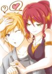 1boy 1girl ;o ? bare_shoulders blonde_hair blouse blue_eyes blush breasts forehead_protector green_eyes half-closed_eyes hand_on_another's_head heart imminent_kiss jaune_arc jewelry moai_(moai_world) necklace one_eye_closed open_mouth pen ponytail pyrrha_nikos redhead ring rwby seductive_smile smile thought_bubble